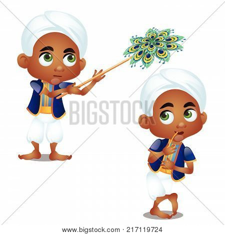 Little Indian boy servant isolated on white background. Vector cartoon close-up illustration.