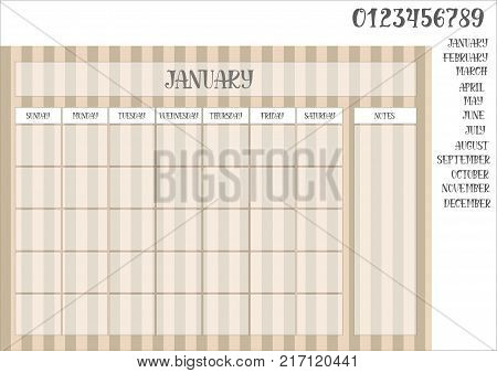 Monthly planner on a striped brown background and names of months