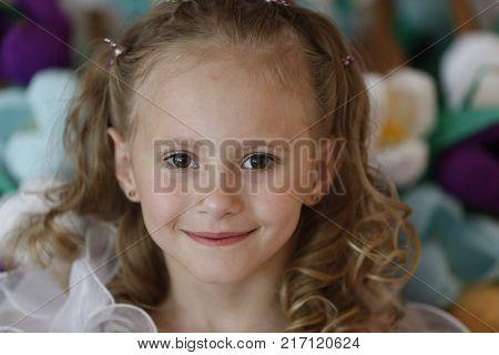 Belarus the city of Gomel 03.06.2016. Graduation kindergarten.Beautiful little girl smiling