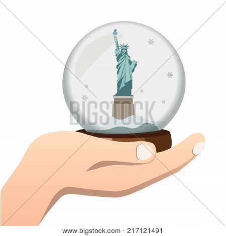 Hand holding the sight of New York. Vector illustration