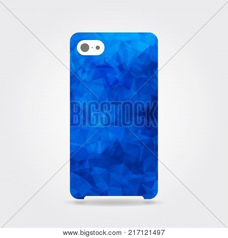 Blue triangular phone case. Blue polygonal template cover phone or case smartphone. Mobile phone modern cover back