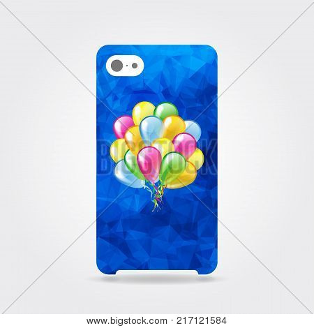 Blue triangular phone case with multicolored glossy balloons. Blue polygonal template cover phone or case smartphone with multicolored glossy balloons. Mobile phone modern cover back