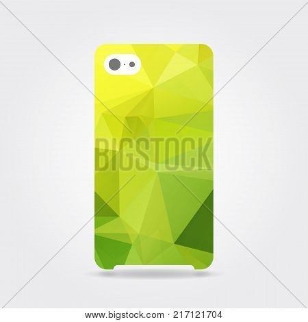 Yellow triangular phone case. Yellow polygonal template cover phone or case smartphone. Mobile phone modern cover back