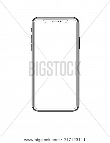 smartphone white color with blank touch screen isolated on white background. stock vector illustration eps10.