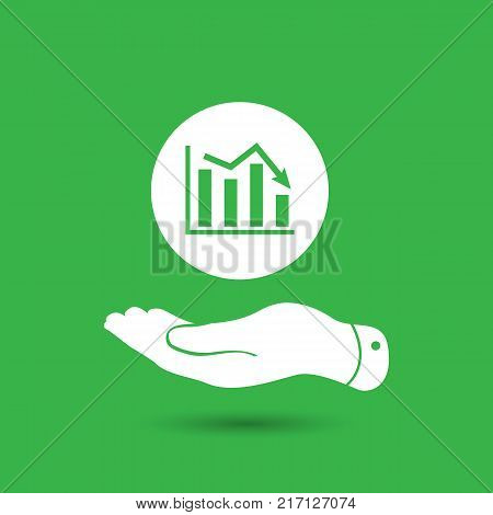 flat hand showing the icon of graph going down - vector illustration