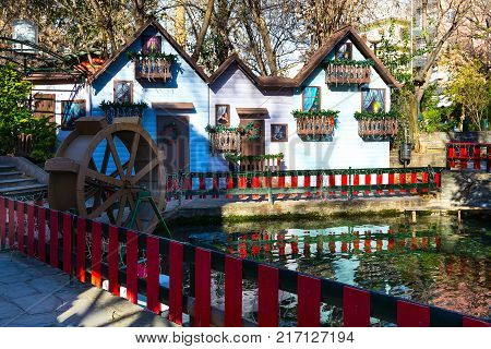 Greece, Drama - December 14, 2016: Decorated house at greek Christmas market in Drama, Greece