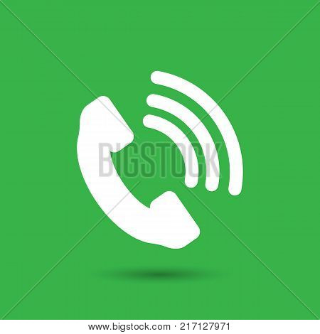 Telephone receiver vector icon on a green background