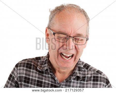 Man laughing hard