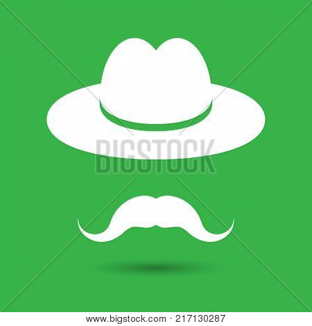 man mustache icon - white hat with mustache isolated on the green background