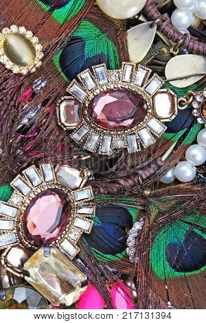 Fashion jewelrys. Fashion jewels as background. Jewelery texture. A lot of Jewells in texture. Jewellery background. Beautiful jewels pattern. Necklace earrings bracelet. Studio photo texture photography. Jewels.