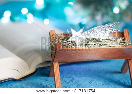 Bible manger and native scene abstract christmas background concept with star