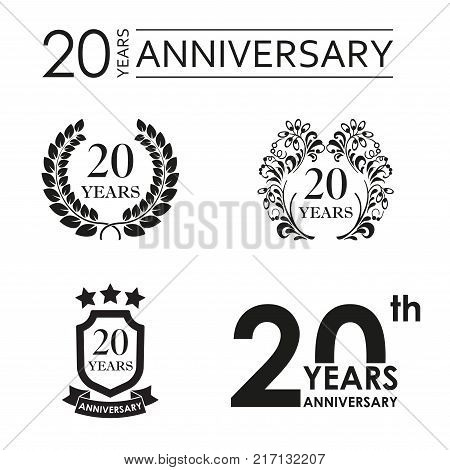 20 years anniversary set. Anniversary icon emblem or label collection. 20 years celebration and congratulation design element. Vector illustration.