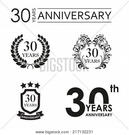 30 years anniversary set. Anniversary icon emblem or label collection. 30 years celebration and congratulation design element. Vector illustration.