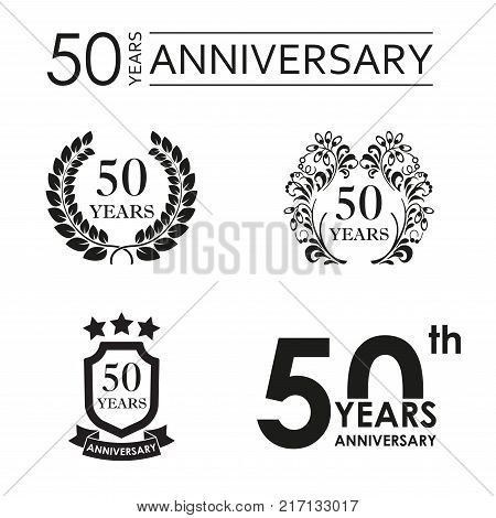 50 years anniversary set. Anniversary icon emblem or label collection. 50 years celebration and congratulation design element. Vector illustration.
