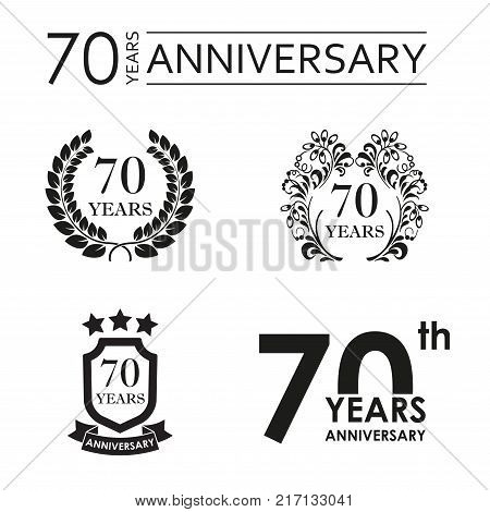 70 years anniversary set. Anniversary icon emblem or label collection. 70 years celebration and congratulation design element. Vector illustration.