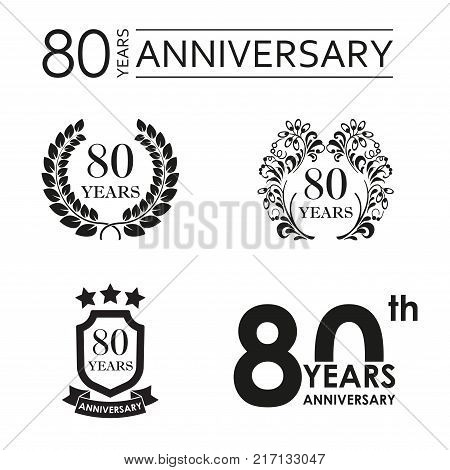 80 years anniversary set. Anniversary icon emblem or label collection. 80 years celebration and congratulation design element. Vector illustration.