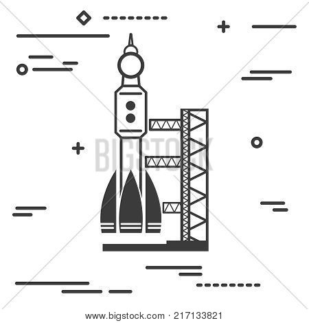 Flat Line art design graphic image concept of black launch site with rocket on a white background