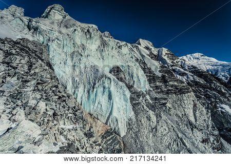 Island Peak Glacier on Himalayan mountain range