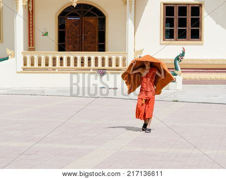 Delhi, India - 2 May 2015: A Man Is Spreading Carpets, Just Before Midday Prayer In The Main Prayer