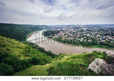Small city Zalishchyky seen from viewpoint in Khreshchatyk village Ukraine