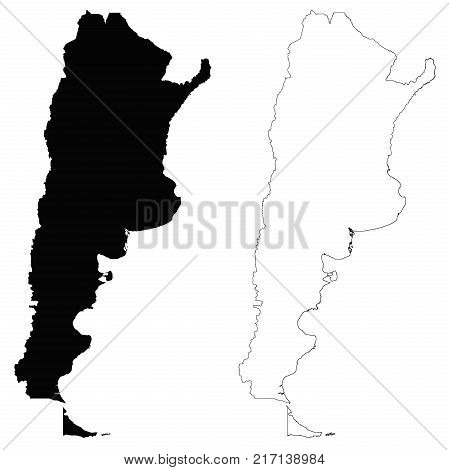 Argentina outline map - detailed isolated vector country border contour maps of Argentina on white background
