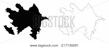 Azerbaijan outline map - detailed isolated vector country border contour maps of Azerbaijan on white background