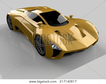Yellow racing concept car. Image of a car on a gray glossy background. 3d rendering