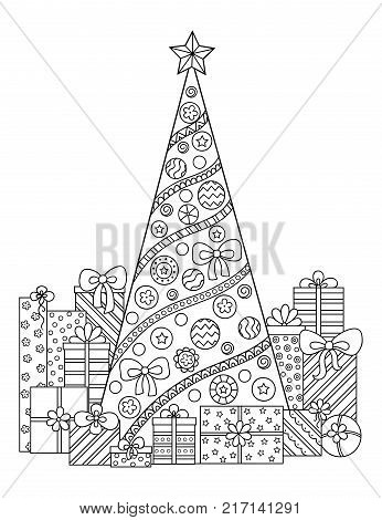 Doodle Pattern In Black And White Christmas Decorations Tree Gifts Snow