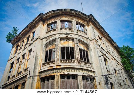 Detail of the eroded facade of former Capitolio Theater aka Campoamor building in Old Havana, Cuba