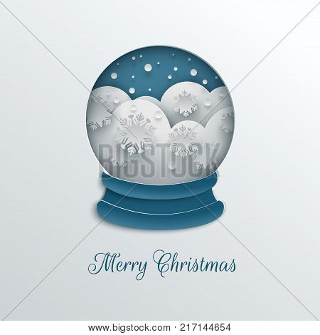 Merry Christmas holiday design paper cut out snow globe decoration with snowflakes snowdrifts blue background for greeting card banner poster invitation paper cut art style vector illustration