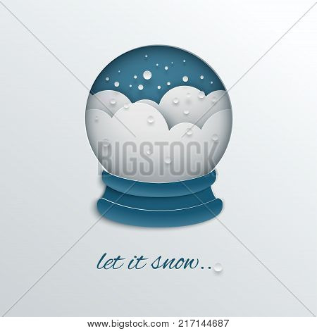 Merry Christmas and new year holiday design paper cut out snow globe decoration with snowflakes snowdrifts blue background for greeting card invitation paper cut art style vector illustration