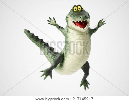 3D rendering of a cute friendly cartoon crocodile smiling and jumping for joy.