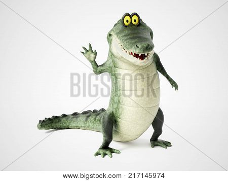 3D rendering of a cute friendly cartoon crocodile standing up and waving hello.