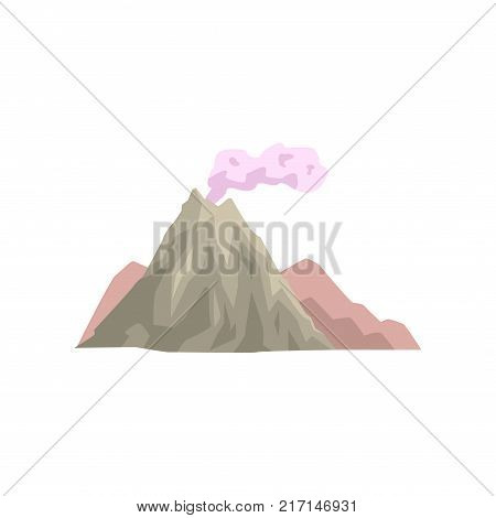 Volcano eruption with dust cloud vector Illustration isolated on a white background