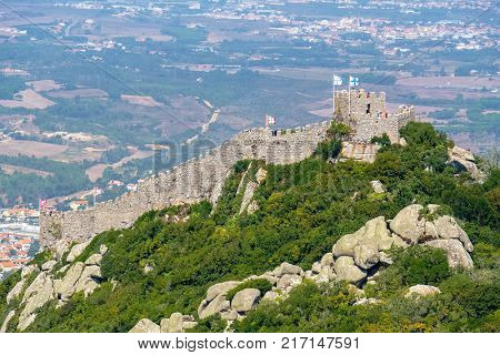 View of Moorish Castle (Castelo dos Mouros) from above. Sintra Portugal