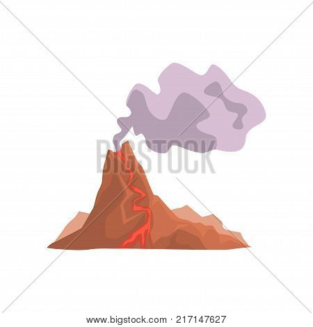 Fired up volcanic mountain with magma and hot lava vector Illustration isolated on a white background