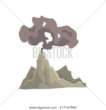 Volcano eruption, awakening dangerous vulcan with dust cloud vector Illustration isolated on a white background