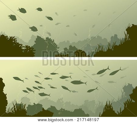 Set of horizontal wide banners of seabed with coral reefs algae and school of fish.