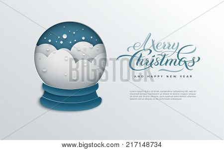 Merry Christmas and New Year greeting card paper cut snow globe with snowflakes on blue background. Holiday design for banner poster invitation flyer paper cut out art style vector illustration