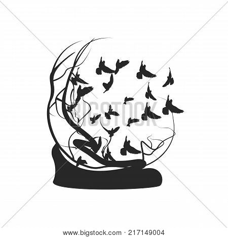 Birds fly away from the tree. Black and white drawing. Vector illustration.