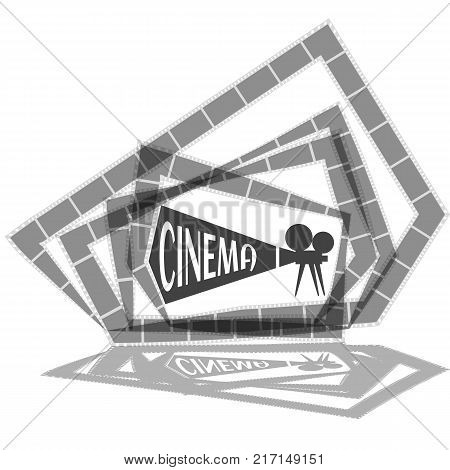 Movie time concept.Creative template for cinema poster, banner in retro cartoon style.Vector illustration of film projector with film reels and lettering