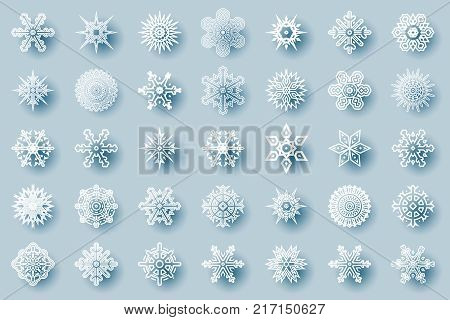 Geometric winter snowflakes abstract cristmas geometry new year icons design elements template vector illustration