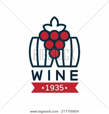 Wine label estd 1935, natural top quality product logo, design element for menu, winery logo package, winery branding and identity vector Illustration isolated on a white background