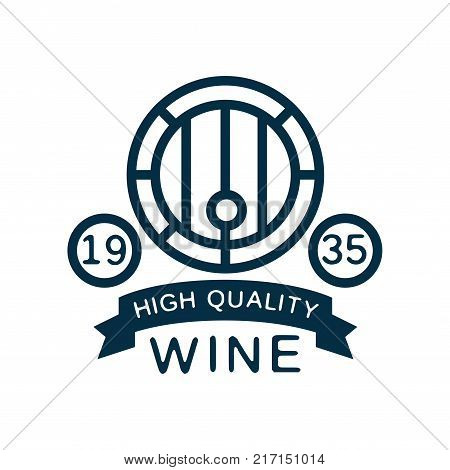 Blue wine label, high quality product vintage logo, design element for menu, winery logo package, winery branding and identity vector Illustration isolated on a white background