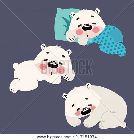 Set of sleeping polar bears. Collection of cartoon polar bears. Christmas illustration.
