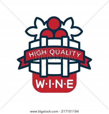 Red and blue wine label, high quality product logo, design element for menu, winery logo package, winery branding and identity vector Illustration isolated on a white background