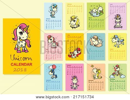 Calendar 2018 with cute unicorns. Funny unicorns for every month
