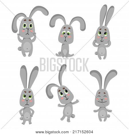 Vector set of 6 rabbit with different emotions: happy, sad, joy, angry. Cute little rabbits. Rabbit for design isolated on white. Easter bunny. The concept of children's design.