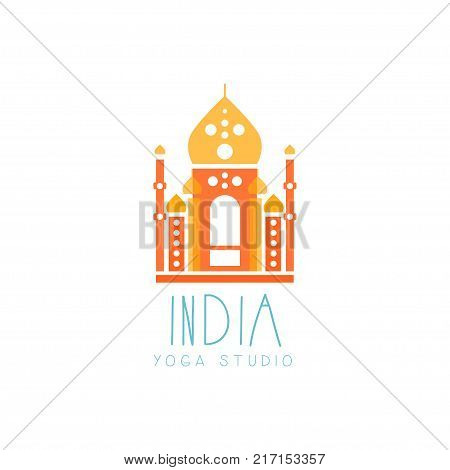 Colorful creative yoga logo. Abstract India Taj Mahal shape. Indian template for yoga studio or meditation class, spa logo design element, healthcare. Vector illustration in flat style isolated on white.