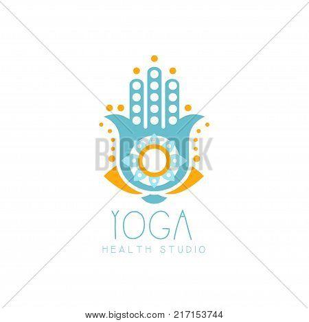 Colorful creative yoga hamsa logo. Hand of Fatima shape. Abstract template for yoga studio or meditation class, spa logo design element, healthcare. Vector illustration isolated on white, flat style
